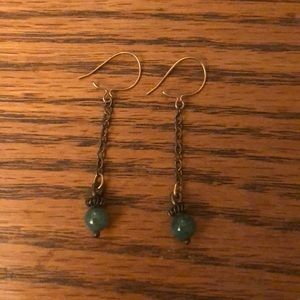 Jewelry - Vintage Green Stone Drop Earrings